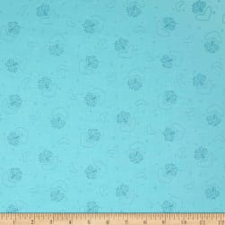 Basically Hugs Allover Hearts Turquoise Fabric