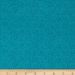 Basically Hugs Scroll Turquoise Fabric