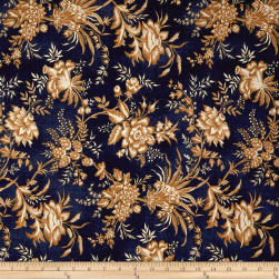 St. Louis Collection Large Floral Blue Fabric
