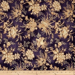 St. Louis Collection Large Floral Purple Fabric
