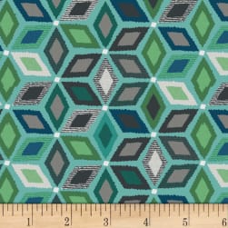 Stof Boho Geometric Aqua/Grey Fabric