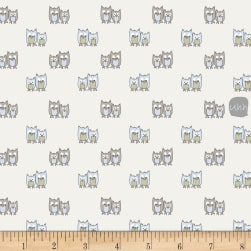 Stof Woodland Owls Cream/Lt. Blue Fabric