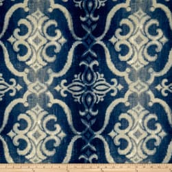 STOF France 100% Linen Giacomo Damask Bleu Fabric