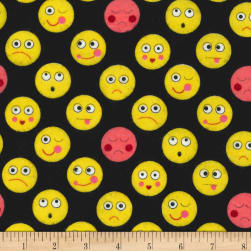Michael Miller Funny Faces Flannel Funny Faces Black Fabric