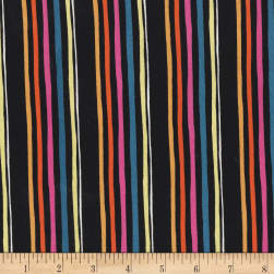 Michael Miller Lovey Dovey Aviary Stripe Black Fabric
