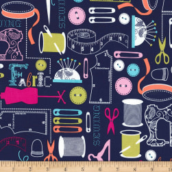 Michael Miller Sewing Circle Sew It Navy Fabric