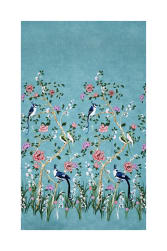 Michael Miller Chinoiserie Chinoiserie Border Turquoise Fabric