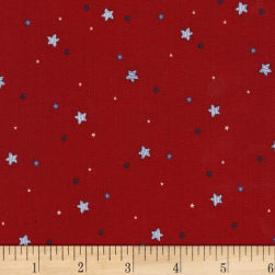 Michael Miller Flight School Sprinkled Stars Red Fabric