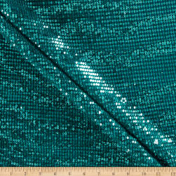 Starlight Sequin & Mesh Scrunchy Knit Teal Fabric