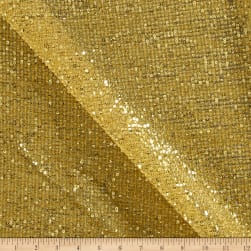 Starlight Sequin & Mesh Scrunchy Knit Gold Fabric