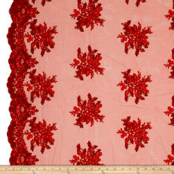 Starlight Sequin & Mesh Lace Alley Red Fabric