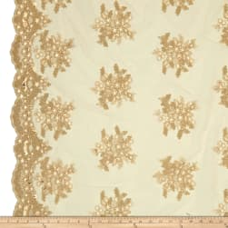Starlight Sequin & Mesh Lace Alley Gold Fabric