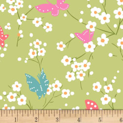 Michael Miller Project Dovetail Butterfly Blossoms Grass Fabric