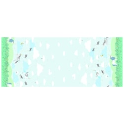 Michael Miller Believe Metallic Magic Meadow Borders Aqua