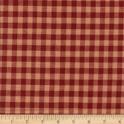 Rustic Woven 3/8 Check Wine/Natural Fabric