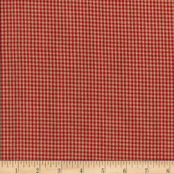 Rustic Woven Small Check Red Fabric