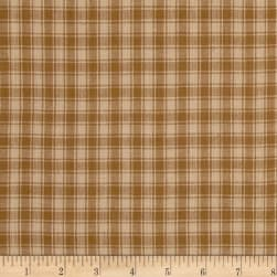Rustic Woven Plaid Light Brown Fabric