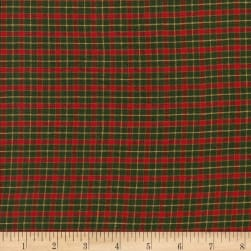 Rustic Woven Plaid Green/Red/Yellow Fabric