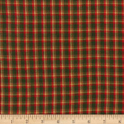 Rustic Woven Plaid Red/Green/Yellow Fabric
