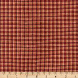 Rustic Woven Small Plaid Wine/Sand Fabric