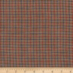 Rustic Woven 1/16 Check Navy/Olive/Wine Fabric