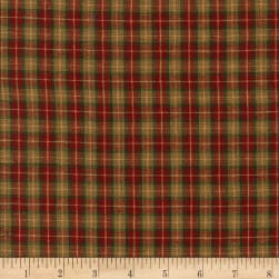 Rustic Woven Med Plaid Wine/Green Fabric