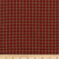 Rustic Woven Plaid Wine/Dk Green/Natural Fabric