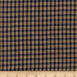 Rustic Woven Small Plaid Navy/Natural Fabric