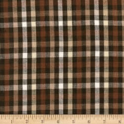 Rustic Woven 1/4 IN Check Brown Natural Fabric