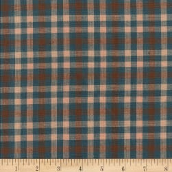 Rustic Woven Check Blue/Khaki/Natural Fabric