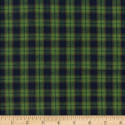 Rustic Woven Plaid Green/Navy Fabric