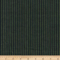 Rustic Woven Stripe Green/Navy Fabric