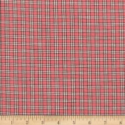 Rustic Woven Small Plaid Rose/White Fabric