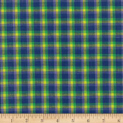 Rustic Woven Plaid Blue/Lime/Aqua/Lav Fabric