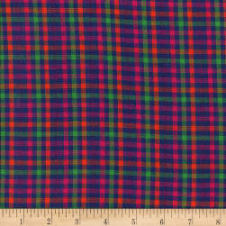 Rustic Woven Check Royal/Magenta/Green Fabric