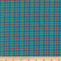 Rustic Woven Plaid Blue/Lime/Aqu/Lav Fabric