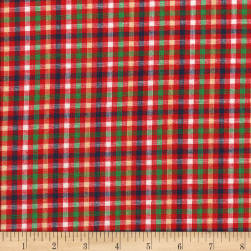 Rustic Woven Check Red/Grn/Yllw Fabric