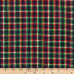 Rustic Woven Plaid Navy/Grn/Wht/Yllw Fabric