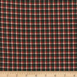 Rustic Woven Check Grn/Blk/Wine Fabric