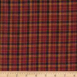 Rustic Woven Plaid Wine/Brwn/Gold Fabric