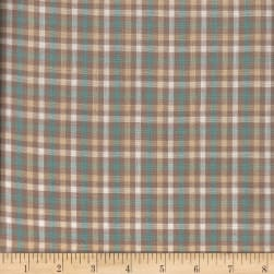 Rustic Woven Check Taupe/Beige/Aqu/Crm Fabric