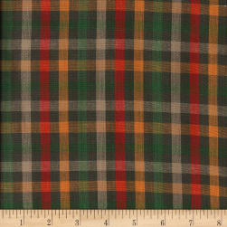 Rustic Woven Check Olive/Grn/Red/Gld/Taupe
