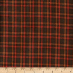 Rustic Woven Check Brown/Rust Fabric