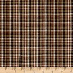 Rustic Woven Plaid Brown/Khaki/White Fabric