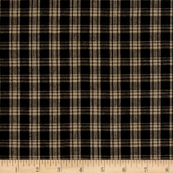 Rustic Woven Small Plaid Nat/Black Fabric