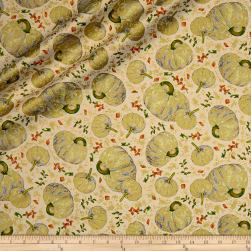 QT Fabrics Autumn Shimmer Tossed Pumpkins Metallic Gold/Cream