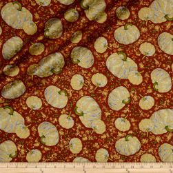 Autumn Shimmer Tossed Pumpkins Metallic Gold/Pumpkin Fabric