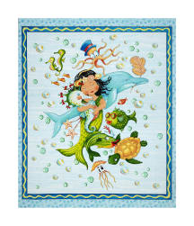 Mermaid Merriment Mermaid 36'' Panel Blue Fabric