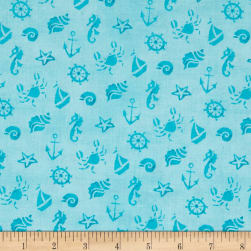 QT Fabrics Mermaid Merriment Ocean Icons Blue Fabric