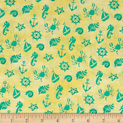 QT Fabrics Mermaid Merriment Ocean Icons Yellow Fabric